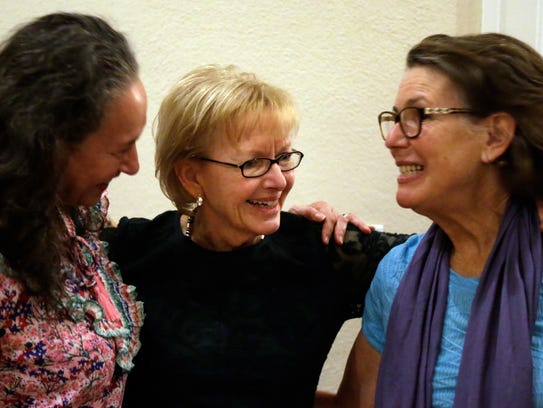 Nancy Daniels visits with former FSU Law School colleagues