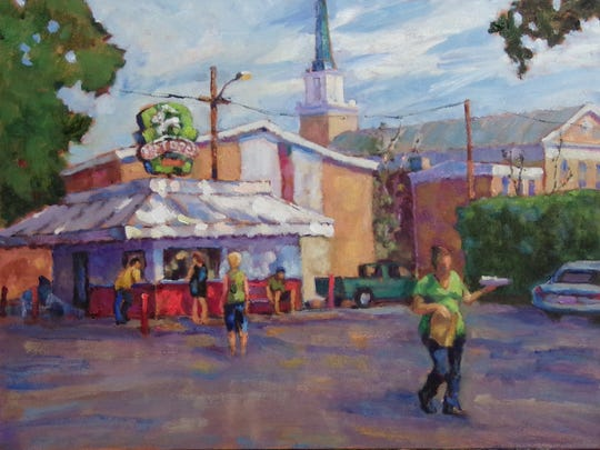 In this painting, Ernie Weerasinghe depicts Taylor Brothers Hot Dog Stand in downtown Visalia.