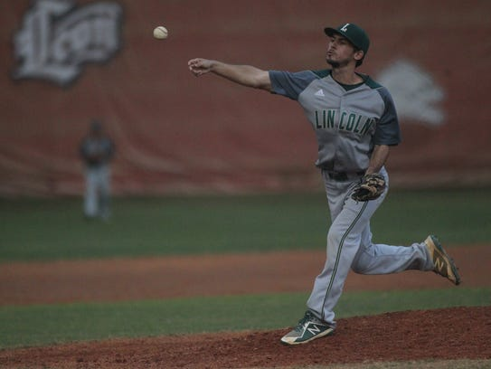 Lincoln's Chad Corriveau throws a pitch against Leon.