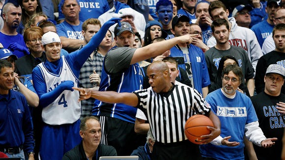 Jeffrey Anderson, shown making a call in a 2012 game at Duke's Cameron Indoor Stadium, will work an Elite 8 game on Sunday for the first time in his career.