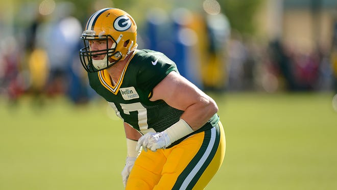 Green Bay Packers linebacker Jake Ryan practices in training camp at Ray Nitschke Field on Aug. 1.