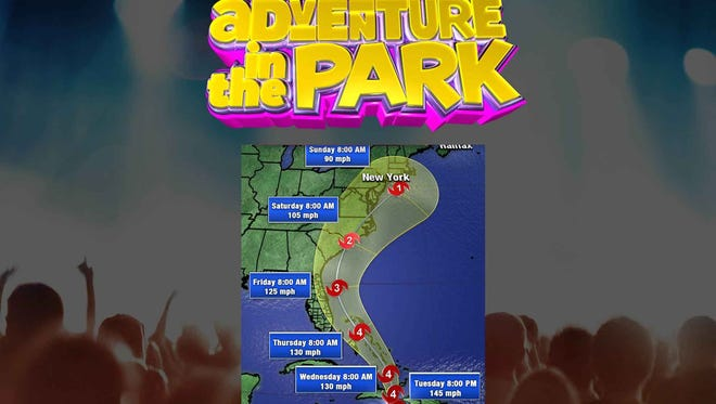 Adventure in the Park's Hurricane Matthew map.