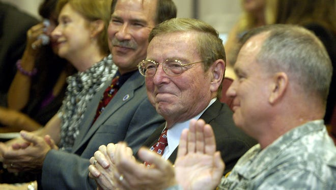 Sen. Pete Domenici, R-N.M., center, smiles in 2008 at White Sands Missile Range as he is recognized for his accomplishments as senator. Domenici retired in 2009. He died Wednesday, Sept. 17, 2017, at age 85.