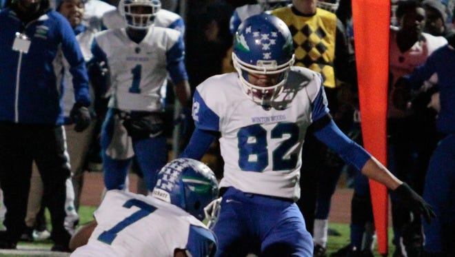 Yeri Velasquez of Winton Woods ended the night the hero.  Yeri Velasquez kicked the game winning field goal with just 1 second left in the game.  Winton Woods defeated La Salle in the Regional Final 16-14 Friday Night, November 17, 2017 at Withrow International High School.