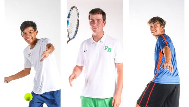 The finalists for The News-Press Boys Tennis Player of the Year are (from left) Jose Camacho, Tyler Carlin, and Ian Ziegler.