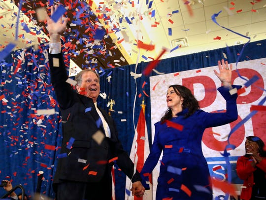 Democratic candidate for U.S. Senate Doug Jones and his wife Louise wave to supporters before speaking Tuesday, Dec. 12, 2017, in Birmingham, Ala. Jones has defeated Republican Roy Moore, a one-time GOP pariah who was embraced by the Republican Party and the president even after facing allegations of sexual impropriety. (AP Photo/John Bazemore) ORG XMIT: ALJB120
