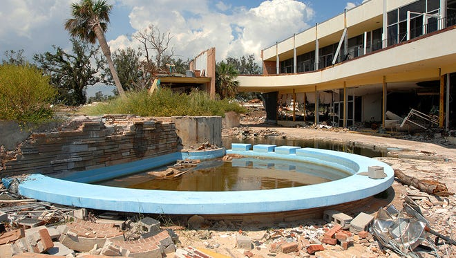 The Broadwater Resort, part of the President Casino, sits in ruins in Biloxi, another victim of Hurricane Katrina