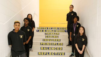 Rufus King International Middle School students at the renovated Malcolm X Academy building.