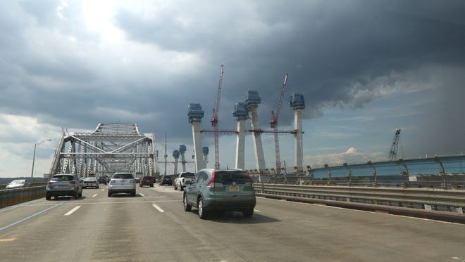 The main support towers rise for the new Tappan Zee Bridge Aug. 12, 2016.