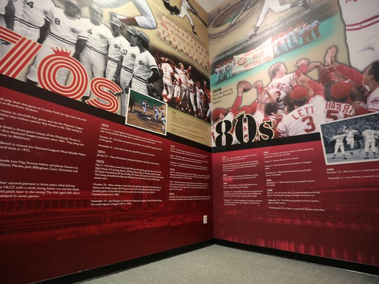 A timeline on the wall at the new exhibit at the Reds Hall of Fame.