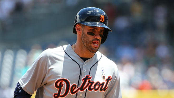 Tigers rightfielder J.D. Martinez (28) rounds the bases on his two-run home run during the first inning Sunday in New York.