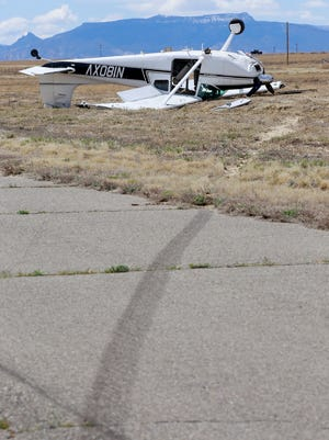 Wind pushed a small propeller plane off a runway at the Shiprock Airstrip on Thursday.