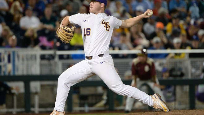 Jun 17, 2017; Omaha, NE, USA; LSU Tigers pitcher Jared Poche' (16) pitches in the eighth inning against the Florida State Seminoles at TD Ameritrade Park Omaha. Mandatory Credit: Steven Branscombe-USA TODAY Sports