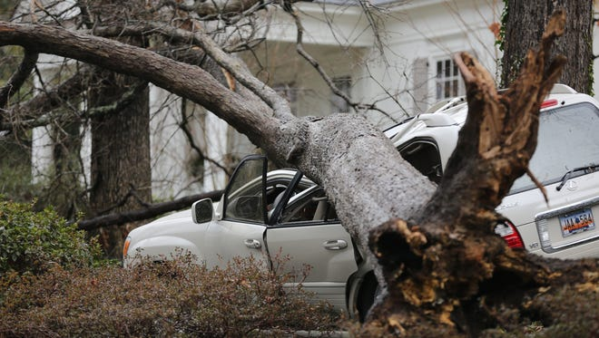 An SUV sits crumpled in Raleigh, N.C., on Jan. 11, 2014, after severe weather swept across the area. Jan. 11 has been the only day with significant severe weather so far this year.