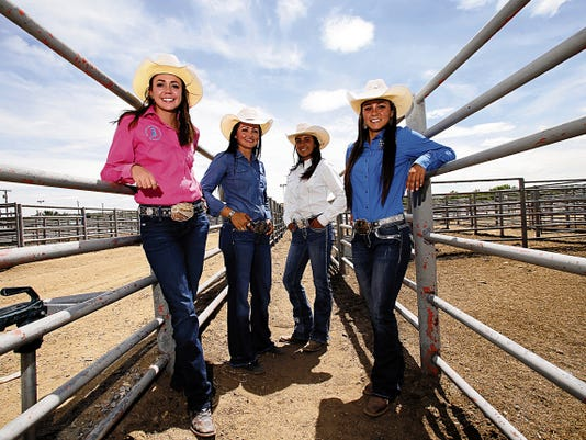 Tyllor Ledford, left, Ciara Lefebre, and Keylie Kemple and Kenzie Kemple poses for a portrait Thursday at McGee Park on the San Juan County Fairgrounds.