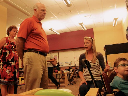 U.S. Rep. Steve Pearce, R-Dist. 2, talks with a New Mexico School for the Blind and Visually Impaired teacher Wednesday morning. Pearce visited the school and several other locations in Alamogordo throughout the day.