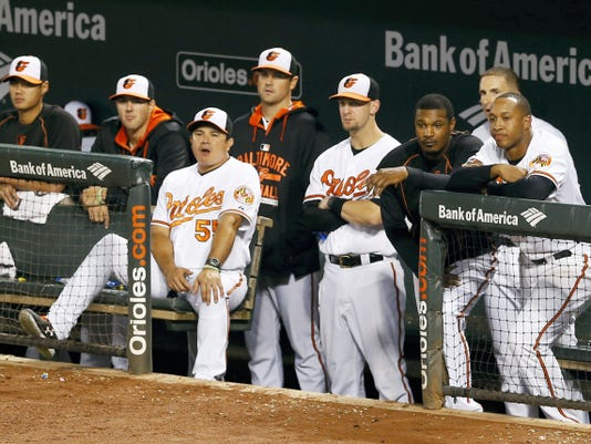 Members of the Baltimore Orioles watch from the dugout in the ninth inning of a 10-1 loss against the Boston Red Sox on Wednesday in Baltimore.