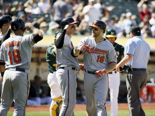 Baltimore's Chris Davis (19) is greeted by his teammates after hitting a grand slam home run off Oakland Athletics relief pitcher Arnold Leon in the 10th inning of Wednesday's game in Oakland, Calif. The Orioles won, 7-3.