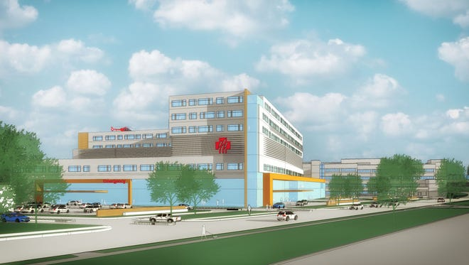 A rendering of Marshfield Clinic's proposed new hospital as viewed from West Kalsched Street in Marshfield.