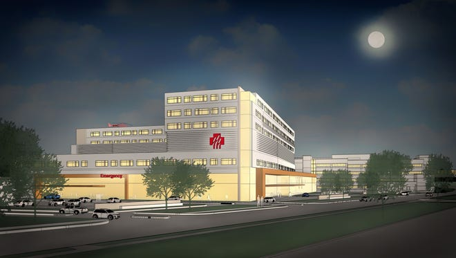 A rendering of Marshfield Clinic's proposed new hospital as viewed at night from North Oak Avenue in Marshfield.