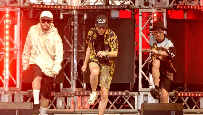INDIO, CA - APRIL 17:  (L-R)  Mithra Jin, DJ Tukutz,  and Tablo of Epik High perform onstage during day 3 of the 2016 Coachella Valley Music And Arts Festival Weekend 1 at the Empire Polo Club on April 17, 2016 in Indio, California.