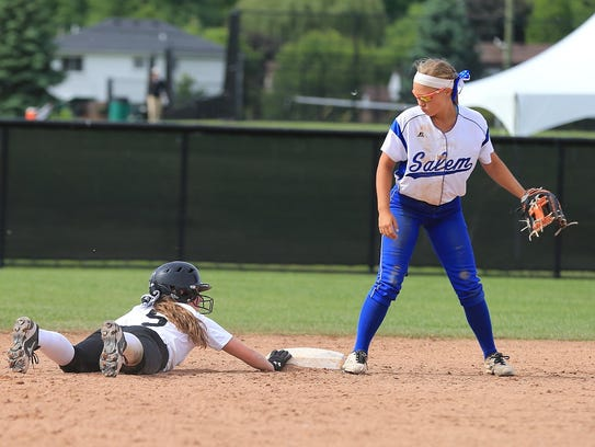 Plymouth's Whitney Holden dives back into second base