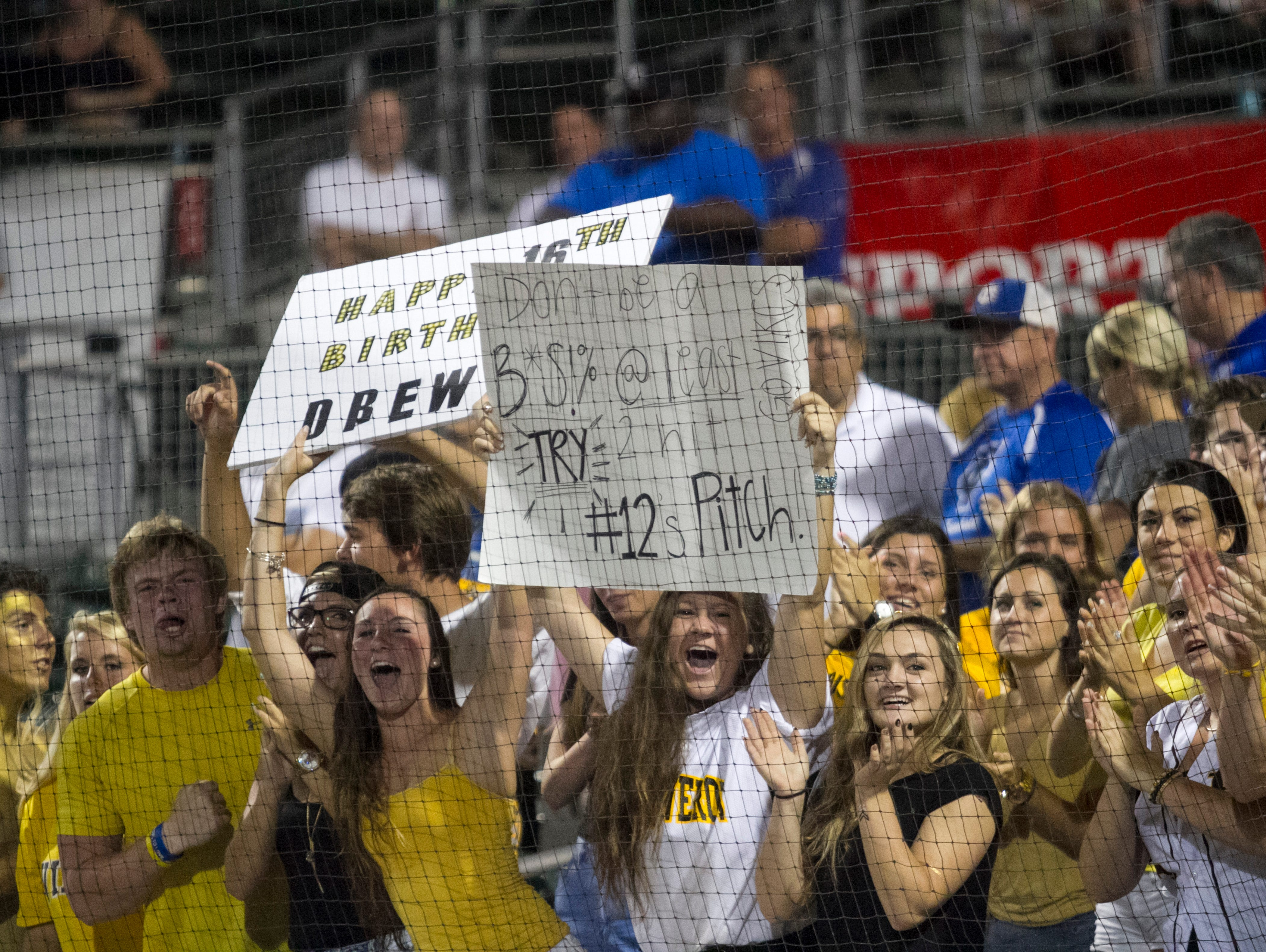 Bishop Verot students cheer before the start of their Class 4A State Baseball final game against Jacksonville Trinity Christian on Tuesday, May 19, 2015, at JetBlue Park in south Fort Myers.