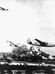 B-24 Liberator bombers over Ploesti oil fields during Operation Tidal Wave, Romania, 1 Aug 1943.