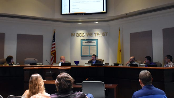 Mayor Pro-Tem Jason Baldwin speaks to his fellow commissioners about his opinion on supporting a bill that would upgrade White Sands National Monument to a national park.