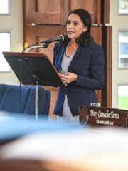 Sen. Mary Torres speaks during session at the Guam
