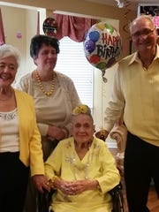 Special birthday Dottie Amos celebrated 104 years with friends and family at Newburgh Healthcare, and we want to offer our congratulations as well. Surrounded by sister Jayne Manis, niece Tracey Manis and brother-in-law Pat Manis, she offered some sage advice which included something about champagne and beer.