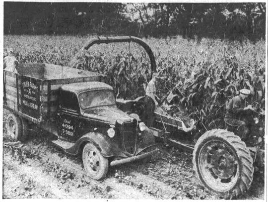 The Sunshine Farm shows off its new corn harvester,