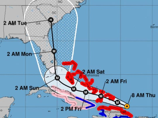On Thursday morning, forecasters projected that Hurricane Irma would pass through South Carolina.