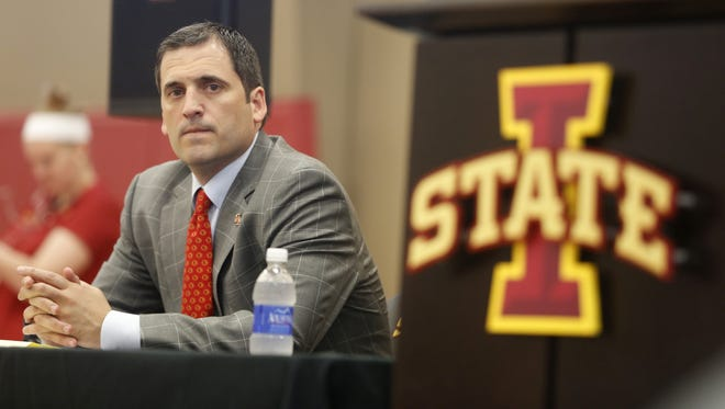 New head basketball coach Steve Prohm waits to be introduced Tuesday, June 9, 2015, at a news conference in Ames.