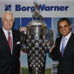 Juan Pablo Montoya and Roger Penske with thre Baby Borg trophies, 13 January, 2016, Detroit, Michigan USA