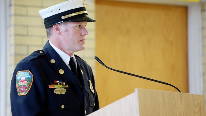 Asheville Fire Chief Scott Burnette speaks during a 9/11 remembrance ceremony September 11, 2017.