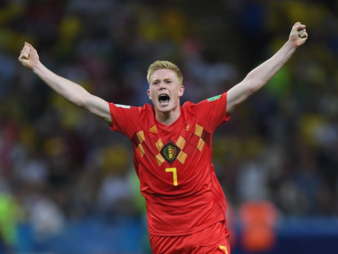 Kevin De Bruyne of Belgium celebrates following his