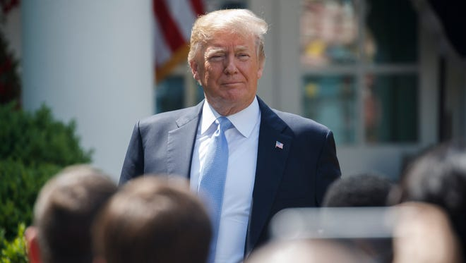 epa06717657 US President Donald J. Trump arrives to participate in First Lady Melania Trump's 'BE BEST' initiative launch event in the Rose Garden of the White House in Washington, DC, USA, 07 May 2018. The First Lady's BE BEST initiatives will focus on bullying and the opioid epidemic.  EPA-EFE/SHAWN THEW ORG XMIT: STX36