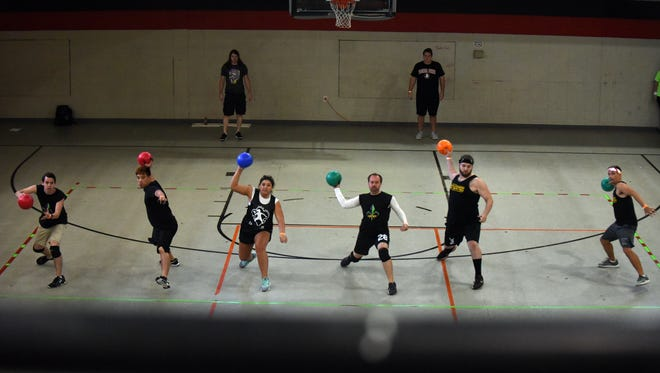 """Members of the New Orleans Dodgeball Association participate in the United Way of Southeast Mississippi's first """"Play United Dodgeball Tournament"""" at the Family Y in Hattiesburg on Oct. 8. The event raised approximately $5,000 for United Way's  partnering agencies."""