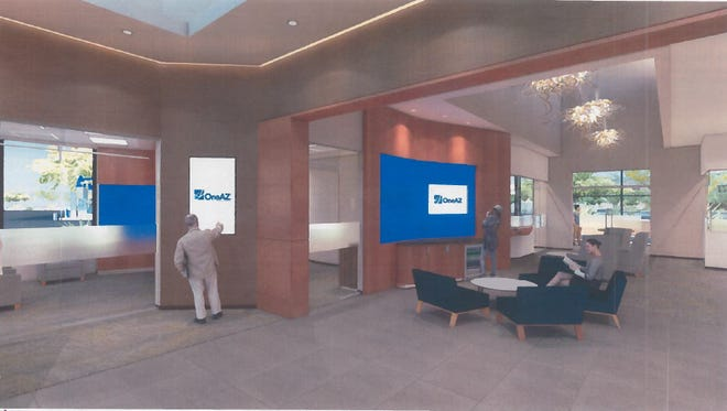 This artist's rendering shows what future branch lobbies at OneAZ Credit Union will look like.
