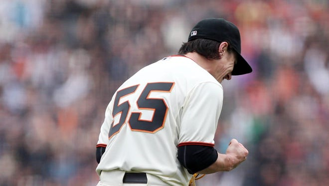 Tim Lincecum (55) reacts after the final out in a no-hitter Wednesday.