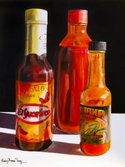 Bottles of hot sauce seem to come to life in Penny Simpson's art.