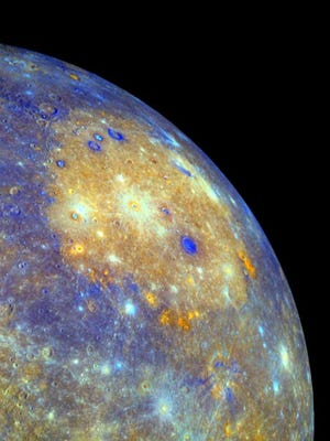 The planet Mercury, as imaged by the NASA probe MESSENGER.
