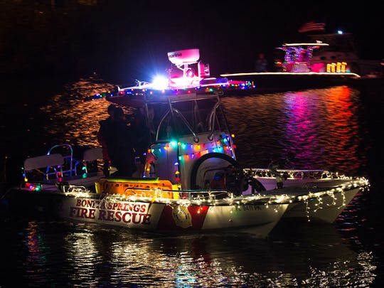 Bonita Springs Fire Rescue joined the 30 plus boats during the 31st annual Bonita Springs Christmas Boat Parade on the Imperial River in Bonita Springs, Saturday, Dec. 10.