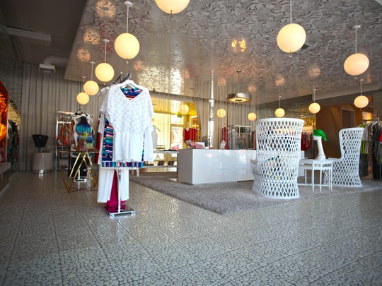 The Trina Turk Boutique displays women's contemporary clothing in Palm Springs, which first opened in 2002.