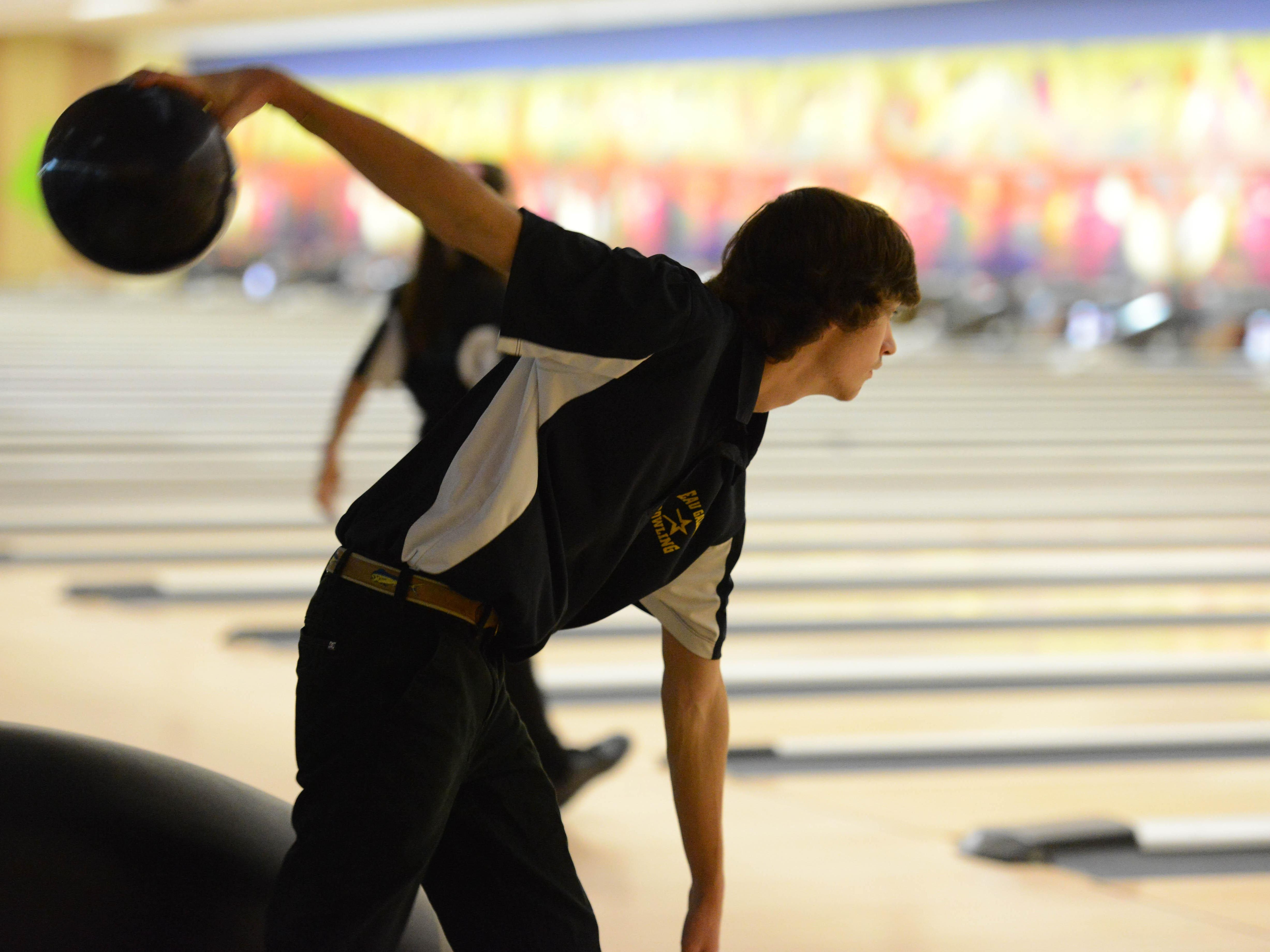 Brad Wood of Eau Gallie bowls during Wednesday's games at Shore Lanes in Palm Bay.