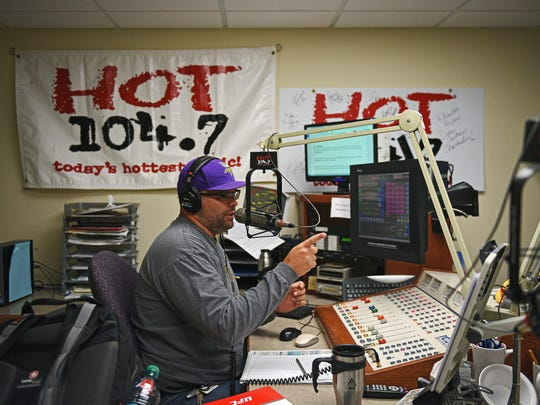 "Andy talks during the ""Hot Morning Show"" with Tasha at the 104.7 studio, one of eight Results Radio Townsquare Media stations in Sioux Falls."