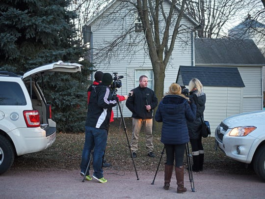 Captain Jason Gearman, with the Minnehaha County Sheriff's Office, speaks with the media at the scene of an investigation into a suspicious death of a child in Dell Rapids.
