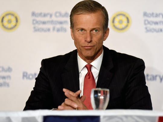 Democratic challenger Jay Williams and Republican incumbent John Thune, candidates for a U.S. Senate seat from South Dakota, debate during a meeting for the Rotary Club Downtown Sioux Falls at the Holiday Inn Sioux Falls City Centre.