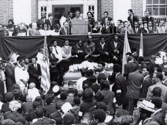 April 9, 1968 Dr. Ralph Abernathy speaks to the thousands